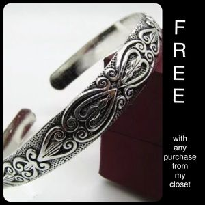Jewelry - Tibetan Silver Bangle Totem Cuff Bracelet Boho